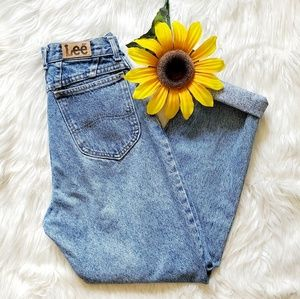 Vintage Lee High Waisted Light Wash Mom Jeans